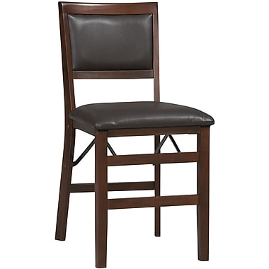 Linon Triena Vinyl Pad Back Armless Folding Chair, Rich Espresso