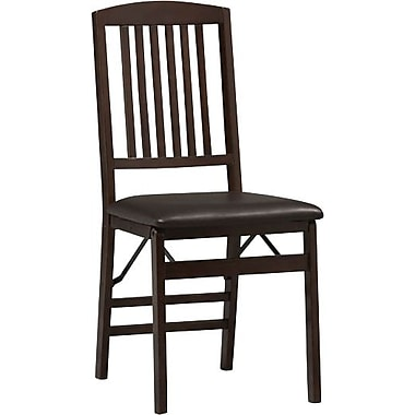 Linon Triena Vinyl Mission Back Armless Folding Chair, Rich Espresso