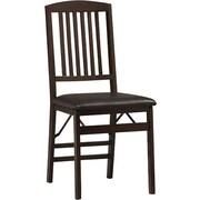 Linon Triena Vinyl Mission Back Armless Folding Chair, Rich Espresso