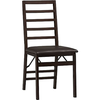 Linon Triena Vinyl Ladder Back Armless Folding Chair, Rich Espresso