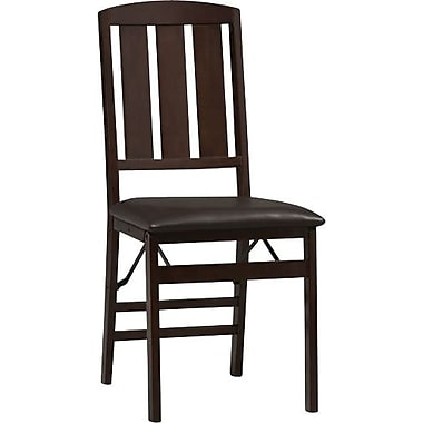 Linon Triena Vinyl Slat Back Armless Folding Chair, Rich Espresso