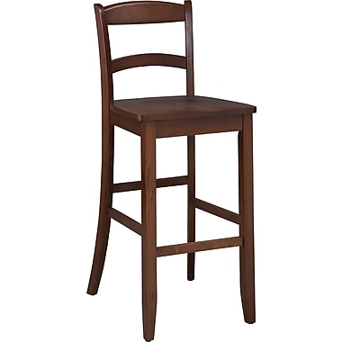 Linon Torino Wood Camel Counter Stool, Dark Cherry
