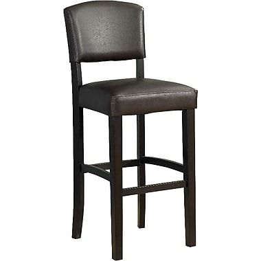 Linon Monaco PVC Bar Stool, Black