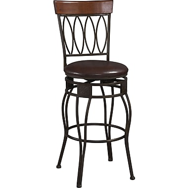 Linon Four Oval Back PVC Bar Stool, Brown