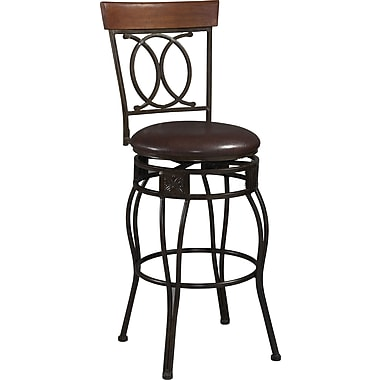 Linon O & X Back PVC Bar Stool, Brown