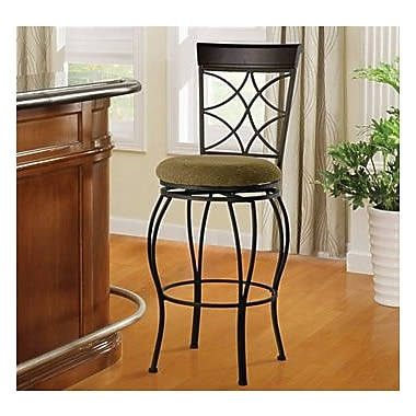Linon Curve Microfiber Counter Bar Stool, Beige/Black