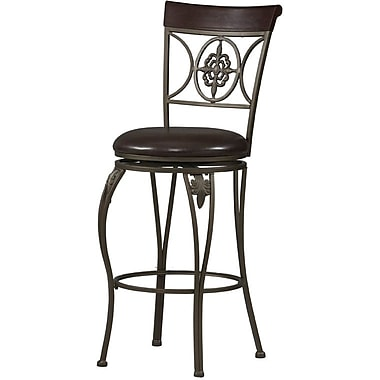 Linon Fleur De Lis PVC Bar Stool, Brown