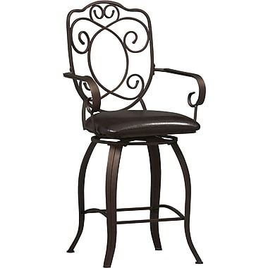 Linon Crested Back PVC Counter Stool, Dark Brown