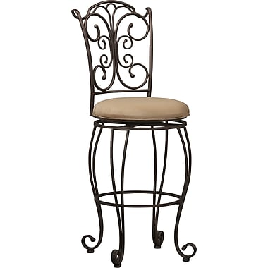 Linon Gathered Back Metal Bar Stool, Light Brown/Caramel