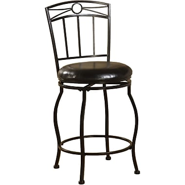 Linon Circle Top PVC Metal Counter Stool, Black