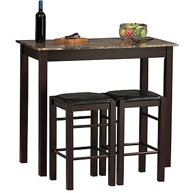 Linon Tavern Ke Wood PVC Counter Set, Black