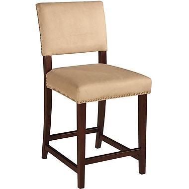 Linon Corey Stone Fabric Counter Stool, Brown