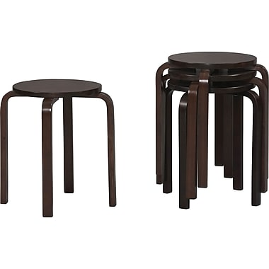 Linon Bent Wood Stacking Stool, Black