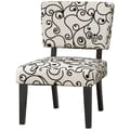 Linon Taylor Fabric Black Circles Accent Chair, White