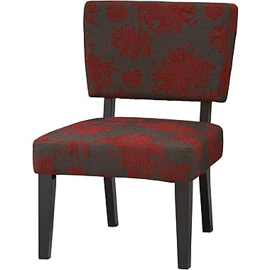 Linon Taylor Fabric Black Flower Accent Chair, Red/Gray