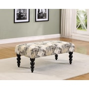 Linon Home Decor Claire Luxurious Padded Seat Bench With Black Legs, Butterfly Pippa