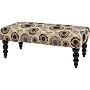 Linon Claire Luxurious Padded Seat Bench With Black Legs, Floral
