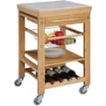 Linon Kitchen Island Cart With Bamboo inlaid Granite Top, Natural