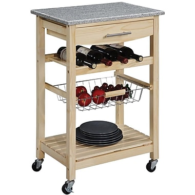 Linon Kitchen Island Cart With inlaid Granite Top, Natural