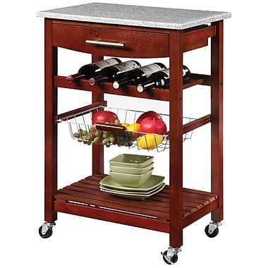 Linon Kitchen Island Cart With inlaid Granite Top, Wenge