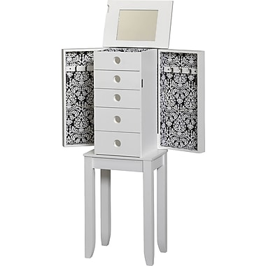 Linon Brittany MDF and Wood Jewelry Armoire, White