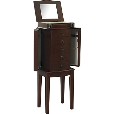 Linon Calla MDF and Veneer Jewelry Armoire, Cherry