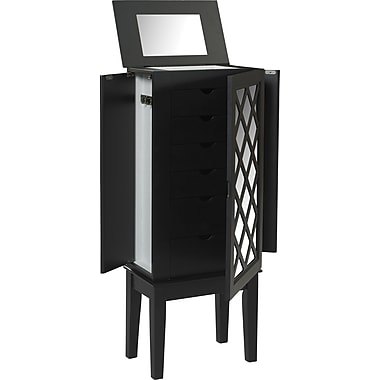 Linon Helen MDF and Veneer Jewelry Armoire, Black
