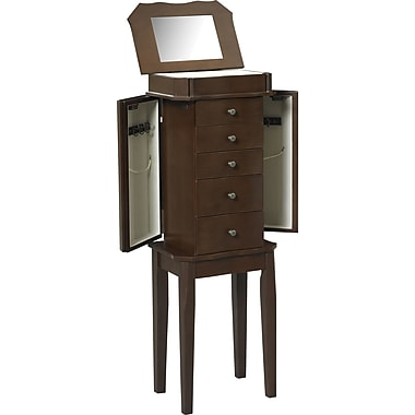 Linon Paige MDF and Veneer Jewelry Armoire, Cherry