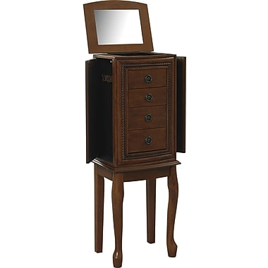 Linon Grace MDF and Veneer Jewelry Armoire, Light Walnut