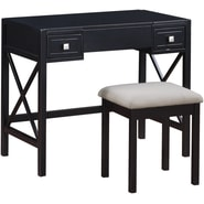 Linon Anna Vanity Set, Black