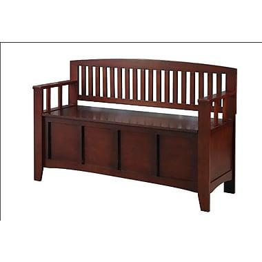 Linon Cynthia Chinese Hard Wood Storage Bench, Walnut