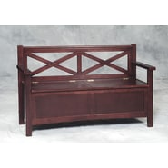 Linon Double X Back Poplar/Veneers Bench, Wenge