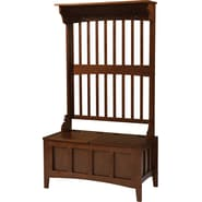 Linon Mission Hall Tree Pine/MDF Storage Bench, Walnut