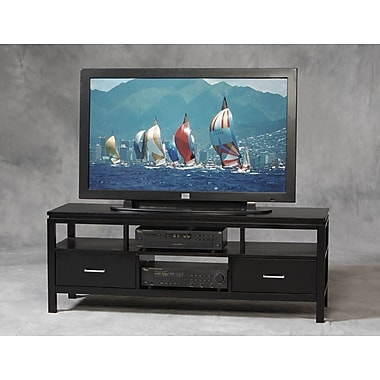 Linon Sutton Rubberwood Plasma TV Center, Black