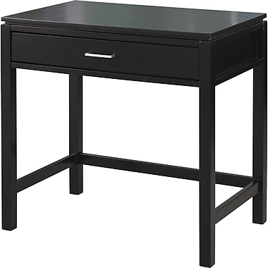 Linon Sutton Rubberwood Desk With Key Board Tray, Black
