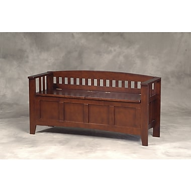 Linon Rubberwood Veneers Short-Split Seat Storage Bench, Walnut