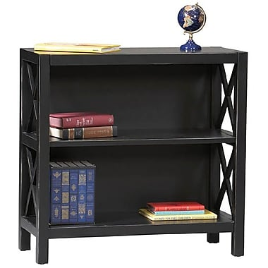 Linon Anna Pine/Painted MDF 3 Shelf Bookcase, Antique Black