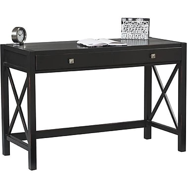 Linon Anna Pine/Painted MDF Desk, Antique Black