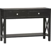 "Linon Anna 30"" x 44"" x 15"" Pine Wood/MDF Console Table, Antique Black"