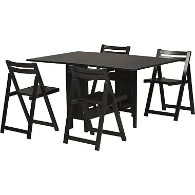 Linon 1in. x 17.88in. x 20.68in. Veneer Space Saver Dining Set, Black