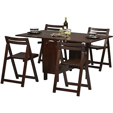 Linon 1in. x 17.88in. x 20.68in. Solid Beech Wood Space Saver Set Table, Wenge
