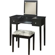 Linon Rubberwood/MDF Vanity Set w/ Butterfly Benches