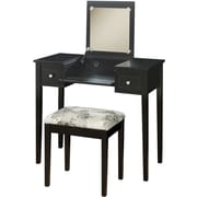 Linon Rubberwood/MDF Vanity Set w/ Butterfly Bench, Black