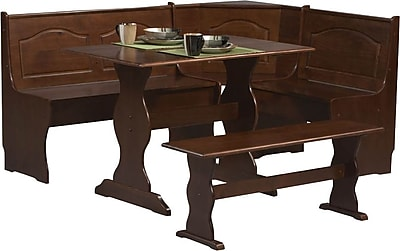 Linon Chelsea Pine Wood Dining Nook Set, Walnut 49349