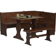 Linon Chelsea Pine Wood Dining Nook Set, Walnut