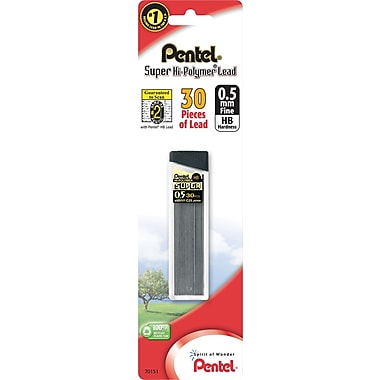 Pentel Super Hi-Polymer Lead Refills, 0.5mm, HB, 30 Leads
