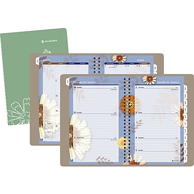 2014 AT-A-GLANCE® Paper Flowers Desk Weekly/Monthly Appointment Book, 5 1/2in. x 8 1/2in.