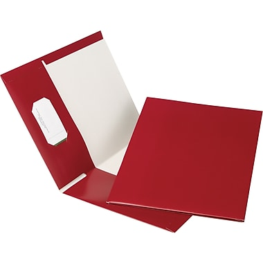 Oxford® Earthwise® 100% Recycled Hi-Gloss Twin-Pocket Folders, Burgundy, 5/Pack