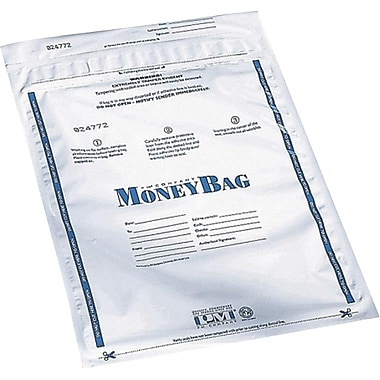 PM® SecurIT Plastic Disposable Deposit Money Bags, 100 per Pack, White