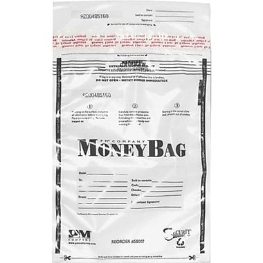 PM® SecurIT Plastic Disposable Deposit Money Bags, 100 per Pack, Clear